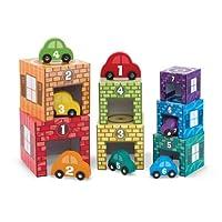 Melissa & Doug 堆叠和分类游戏 车库和汽车套装 7个车库和7辆可堆叠木制汽车