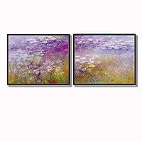 ANKH Water lilies二 系列 莫奈 油画 装饰画 欧式 客厅 壁画 双联 风景 品质选择 艺术之作 (含两幅)