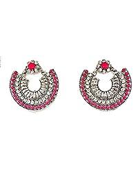 Starnk 设计师银色阿富汗部落危险 Chandbali 耳环 适合女孩 华丽 派对佩戴 耳环 女式
