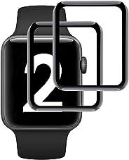 Simpeak 2 只装适用于 Apple Watch 42 毫米屏幕保护膜,[3D 全覆盖] [无气泡] [防刮] [防指纹] iWatch 42 钢化玻璃屏幕保护膜,黑色