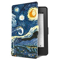 Natusun 纳图森 适配Kindle Paperwhite保护套(适用于1代、2代和3代)KPW3保护皮套 亚马逊958元版电子书阅读器保护壳 全新Kindle Paperwhite3彩绘休眠保护套 文艺 清新 可爱 K5-08 梵高-星空