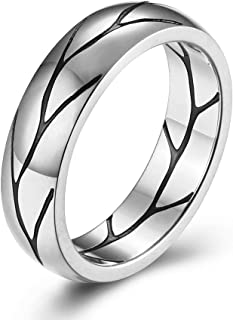 WaMLFac 6MM 表带经典钛不锈钢简约黑色裂纹图案戒指 高抛光表面 舒适贴合尺寸 7-11
