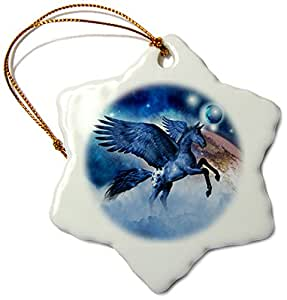 3dRose orn_172896_1 Little Blue Pegasus Flies Trough Strange World with Planets and Stars Snowflake Ornament, Porcelain, 3""