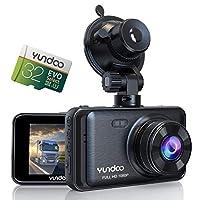 YUNDOO 汽车行车记录仪,车载摄像头包含 32GB SD 卡,全高清 1080P,3 英寸 IPS 屏幕广角镜头,重力传感器,循环录制,停车监控