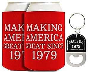40 岁生日礼物 Making America Great Since 1978 Can Coolie and Bottle Opener 钥匙扣套装 红色 A-B-S-C0506-02/LBK-0011-Blk