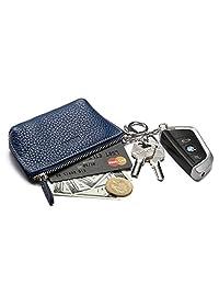 MEKU 女士皮革拉链零钱包钥匙钱包 ID 卡夹带 2 个钥匙圈