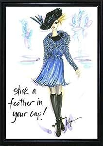 Frame USA Stick a Feather in Your Cap 镶框印刷品 43.18cm x 30.48cm 由 Jennifer Lilya-JENLIL115185,17x12,扁平黑色金属框架