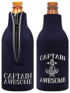 Funny Beer Bottle Coolie Captain Awesome Sailing Gag 礼品多件装奶瓶冷却器冷却器 *蓝 A-P-C0041-02-JIT03-02-Navy