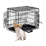 Relaxdays 狗笼,折叠狗运输箱,小狗笼,2个门,地板外壳,金属丝笼,S-XXXL,黑色 S