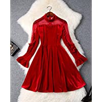 法贝莱 2019春季新款女装欧美时尚立领欧根纱拼接丝绒喇叭袖大摆气质连衣裙T9425