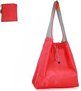 待定:EcoJeannie 1 个装大号*防撕裂尼龙可折叠可重复使用购物袋、旅行袋、沙滩袋、杂货手提袋、内袋和内袋、抽绳、加固提手 红色 15.5 H X 15 W X 5 Inch D / 28 Inch Handle NR0004