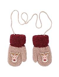 Christmas Elk Mittens 男婴厚双羊毛冬季绳手套 3-5 岁