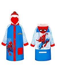 Marvel 蜘蛛侠雨衣 雨衣 雨衣 雨衣 雨衣 连帽 防水 夹克 适合男孩 幼儿 儿童