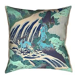 "ArtVerse Katsushika Hokusai Horse and Waterfall 青色x 35.56 cm Pillow-人造亚麻(更新面料)双面印花,仅带隐藏拉链套 14"" x 14"" HOK066P1414G"