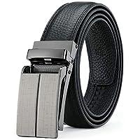 DEYACE 男士棘轮皮带,男士头层粒面皮革滑动皮带,宽度31毫米扣带,贴合,礼品盒