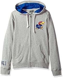 E5 女式 NCAA 全拉链连帽衫,堪萨斯,灰色,S 码