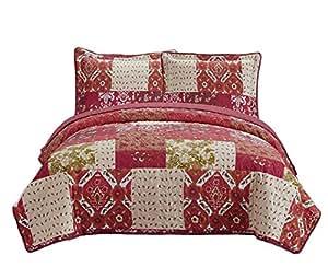 花式系列 3 件套床罩花卉米色红色绿色棕色*红色 新款 #51 红*红色 Oversize Queen B01BQMMW2Y