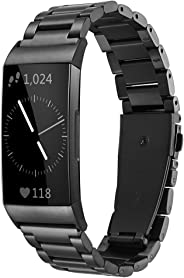 Shangpule 兼容 Fitbit Charge 3 和 Charge 3 SE 指环,不锈钢金属替换表带腕带配件适用于 3 款智能手表女士大号 S 号 黑色