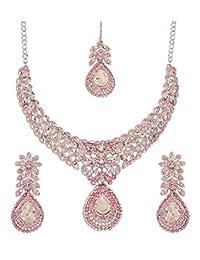 Touchstone 白色印度宝莱坞白色/粉色水钻惊艳新娘珠宝女式项链 粉红色