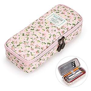 BTSKY 可爱铅笔盒 - 大容量花卉铅笔袋文具收纳盒多功能化妆包,适合铅笔和笔使用 粉红色 OF0179001-TR