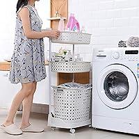 喜禾 Hiho 日式组合脏衣篮 便携脏衣服收纳架 三层脏衣篓置物架 sl-032 (白色)