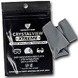 CrystalTech Nano 防雾擦拭剂适用于眼镜、护目镜、面罩和遮阳板 | 可重复使用布 | 眼镜雾防护适用于工作、骑自行车、滑雪、运动| 湿度、汗水和温度变化