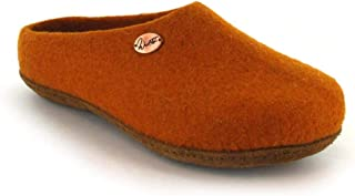 WoolFit 经典款 - 中性毛毡拖鞋,7 毫米可拆卸毛毡鞋垫   * 天然可持续   环保皮革鞋底 橙色 14 Women/12 Men