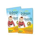 【跨境自营】Ddrops美版加拿大婴儿维生素D3滴剂2.5ml 400IU 90滴*2瓶 助钙吸收(加拿大品牌 保税仓发货 )包税