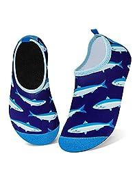 儿童水鞋女孩男孩幼儿防滑速干水袜适合海滩游泳散步 Shark Swarm 2.5-3 Little Kid