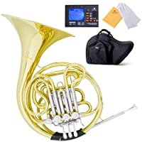 Mendini MFH-30 Intermediate Key of F/Bb Double French Horn with Solid Rotors String Lever Action