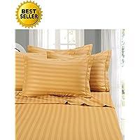Home Couture ITALIAN 1500 支 * 埃及长绒床单 4 件套 条纹 金色 California King COMIN18JU007227