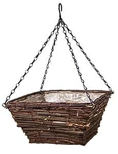 Panacea 88646 藤方形悬挂式篮子,黑色,30.48 厘米