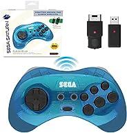 Retro-Bit 官方 Sega Saturn 2.4 GHz 无线控制器 8 键式拱门垫,适用于 Sega Saturn、Sega Genesis Mini、任天堂开关、PS3、PC、Mac - 包括 2 个接收器和