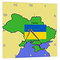 3dRose Map and Flag of The Ukraine with Ukraine printed in Both English and Ukrainian - Wall Clock, 10 by 10-Inch (dpp_45205_1)