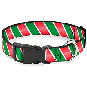 """Buckle Down PC-W30334-NL 糖果手杖塑料夹套圈 Candy Cane4 White/Red/Green 1.5"""" Wide - Fits 18-32"""" Neck - Large"""