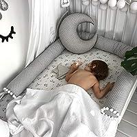 LOAOL 蛇形枕头婴儿床保险杠 78.7 英寸幼儿床保险杠靠垫护套幼儿园装饰男女通用 灰色