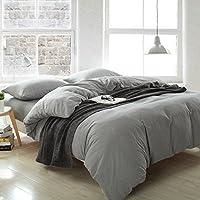 贝好莱 英伦威尔士格纯棉色织磨绒四件套 简约色织床上用品 格子 床笠款 (加大1.8米床笠款(被套220*240cm)), 灰格)