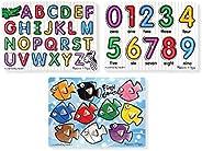Melissa & Doug 经典带钉拼图套装(字母,数字和鱼