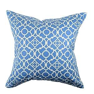 """Vesper Lane QF01LBZ18I Lovely Quatrefoil Throw Pillow, 18"""" x 18"""", Light Blue"""