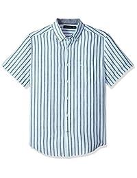 Nautica 男士短袖经典款条纹亚麻扣领衬衫