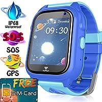 AMENON [免費 SIM 卡兒童智能手表手機,男孩女孩防水兒童手表,精確 GPS 追蹤器智能手表 SOS *呼叫防丟失相機兒童玩具 3. Blue - IP68 Waterproof kids smart watch