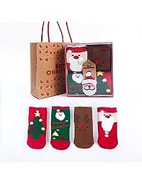 Naturhand 南禾 秋冬男女儿童棉袜子 男女圣诞袜童袜 毛圈加厚儿童袜子 中筒卡通宝宝袜子 礼盒套装