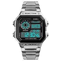 eyotto 男式不锈钢方形表盘手表奢华数字石英防水腕表双时区倒计时 ALARM 码表背光