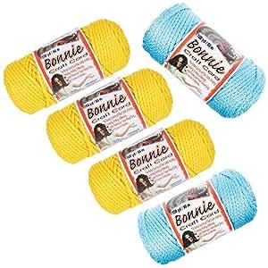 Craft County - Bonnie Macramé 绳子 - 5 件装 - 4 毫米或 6 毫米 - 100 码长 - 多种颜色 Sunny Day 4 MM 5PK-BNC4MM-SUNNYDAY-~CRAFT_SS81518