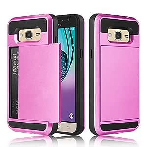 Galaxy J3 V 手机壳,Express Prime 手机壳,优雅选择硬橡胶混合防震保护套【不钱包】带信用卡插槽夹三星 Galaxy J3 2016 粉红色