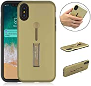纖薄 TPU 手機殼與 iPhone Xs 兼容,兼容帶支架和硅膠環托的 iPhone X 手機型號 金色