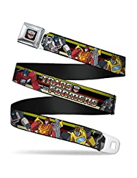 Buckle Down Boys' TRANSFORMERS 5-Autobots Battle Poses/Stripe Seatbelt Belt
