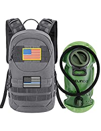 Gelindo *戰術水合背包,輕質 MOLLE 包,帶 2 升水囊,小戰術突擊包,適用于徒步騎行、跑步、散步、登山、戶外旅行,灰色