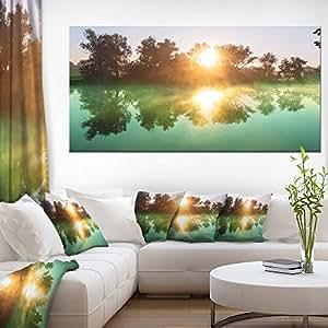 """Design Art Beautiful Summer River at Sunset 60x28"""" PT12264-60-28"""