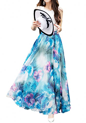 Afibiフルレングス/踝ミックスロングシフォンロングスカートビーチドレス
